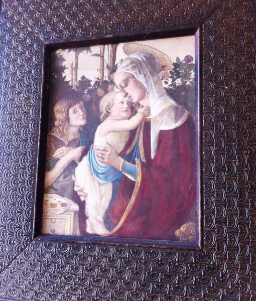 Framed Victorian Antique Colored Etching of Madonna and Child. Bronze Embossed Frame