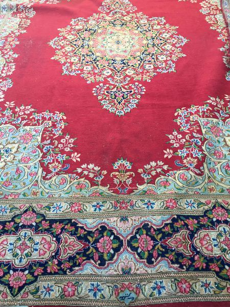Vintage Persian Rug with Dazzling Red Base and Thick Trim Detail