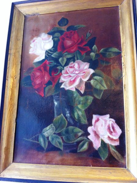 Framed Oil on Canvas, Red and Pink Roses, in Gilt Frame