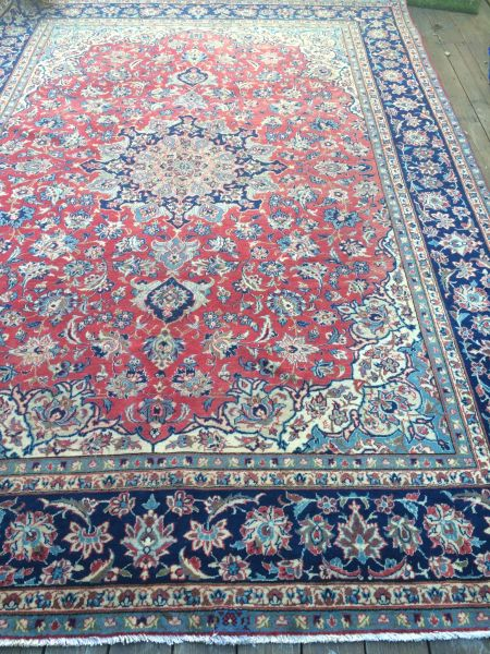 Vintage Persian Area Rug with Center Medallion
