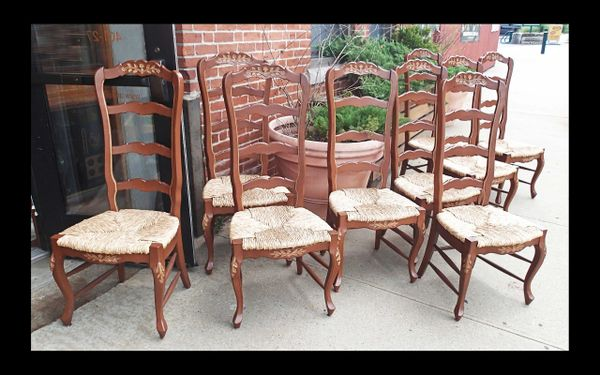 French Country Ladderback Tall Chairs, Set of 9