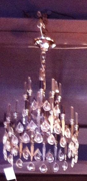 Chandelier with Cut Crystals and Taper Style Lamps