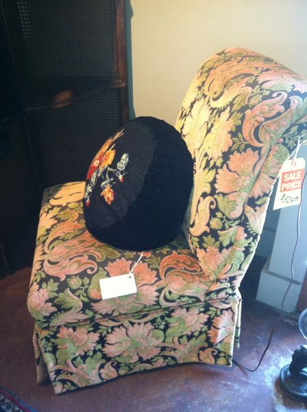 Vintage Cut Velvet Slipper Chair