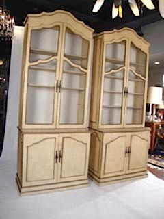 French Louis XV Style Pair of Large Bookcases / Cabinets