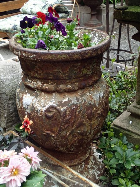 1800's Large Cast Iron Garden Urn From City Streets in Latvia