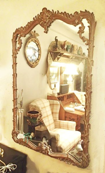 Wooden Hand Carved Gilt Mirror, Large