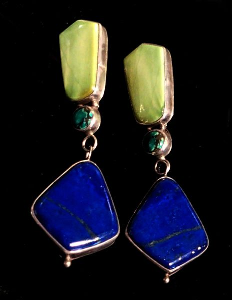 Sterling Silver, Lapis Lazuli and Turquoise Earrings