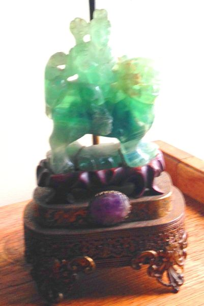 Chinese 1930's Antique Fluorite Lamp, Hand Carved, Rosewood Base, Amethyst Medallion