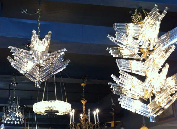 1970's Venini 22K Gold Plated and Austrian Cut Crystal 5 Piece Lighting Set