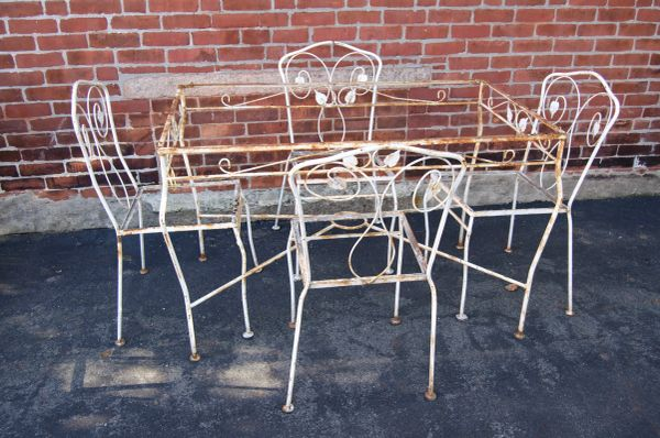 White Wrought Iron Dining Set with Vine Motif