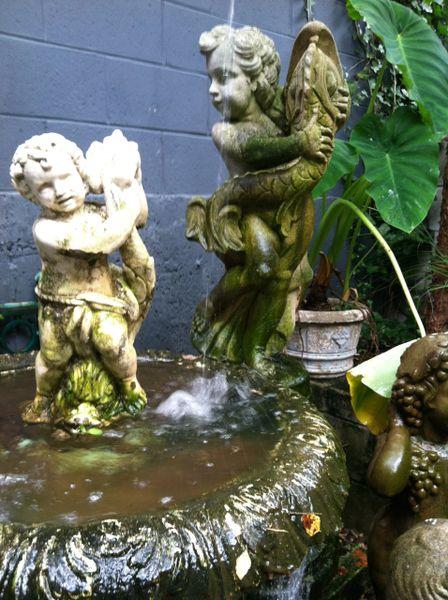 Cast Aggregate Stone Putti with Dophin Fountain
