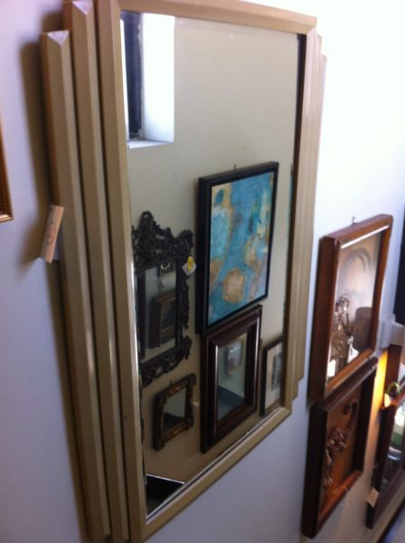 Art Deco Antique Beveled Mirror with Layered Frame
