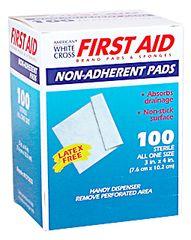 "NON-ADHERENT PAD, STERILE, 3X4"", 100/BOX"