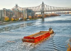 East River Boat Traffic, Queensbury Bridge, Queens, Manhattan Skyline