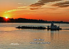 Work Boat at Sunrise, Ohio River, Paducah, KY