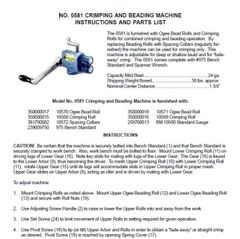 PEXTO NO. 0581 CRIMPING & BEADING INSTRUCTIONS AND PARTS LIST