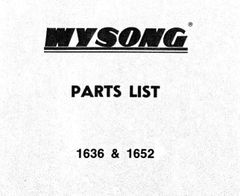 Wysong 1636 & 1652 Parts List