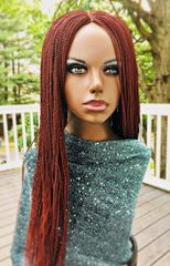 Micro Twist Wig with Net Closure Color, Burgundy 24 Inches