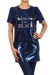 Navy Blue Sequin Embellished Tunic