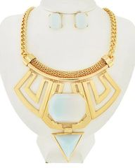 Light Blue Acrylic and Gold Tone Metal Necklace Set