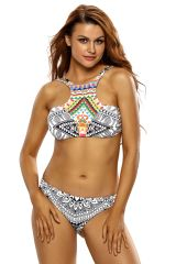 Double Strap 2Pcs Printed High Neck Swimsuit