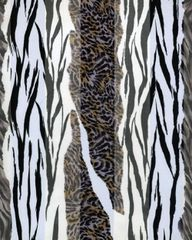 Zebra and Cheetah Print Satin Stripe Scarf (White/ Black)
