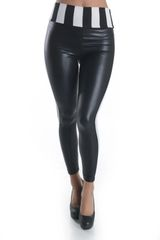 High Waisted Leather and Stripe Leggings