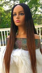 Handmade Micro Twist Ombre Braided Wig Color 1b /30, 26 Inches