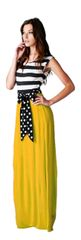 Striped and Solid Contrast Maxi Dress, Mustard Yellow