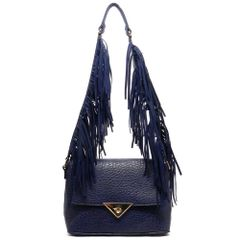 Navy Blue Fringe Strap Shoulder Bag