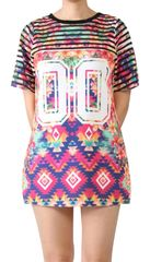 Multi Color Tribal Print Short Sleeve Jersey Top