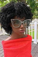Handmade Spiral Curl Wig, Color 1b 10 Inches