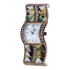 Pave Shell and Crystal Wavy Bangle Watch