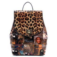 Leopard and Magazine Print Glossy Backpack