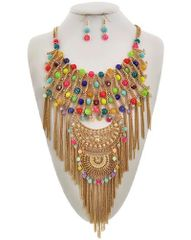 Multi Color Acrylic & Glass Chain Necklace Set