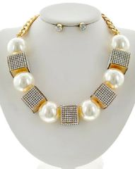 Clear Rhinestone and Synthetic Pearl Statement Necklace Set