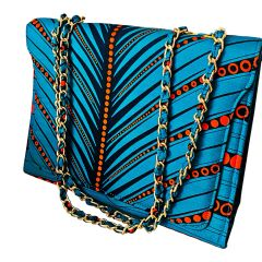 Women's Teal and Orange Ankara Print Shoulder Bag