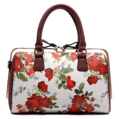 Floral Print Slide Closure Satchel