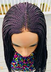 Cornrow Fulani Braided Wig, Color Purple 28 Inches