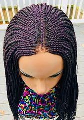 Cornrow Fulani Braided Wig, Color Purple 28 Inches