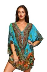 Women's Printed Lace Up Embellished Kaftan