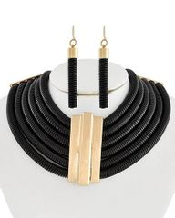 Black Tone Multi Row Choker