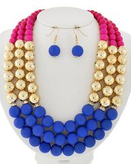 Multicolored Cc(bead) Multi Row Necklace Set