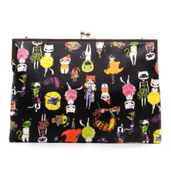 Printed Fold Kiss Lock Clutch