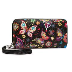 Butterfly Printed Double Zip Around Wallet Wristlet