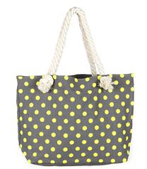 Yellow Polka Dot Fabric Tote Bag with Rope Handles