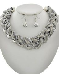 Braided Mesh Fabric Chain Necklace Set