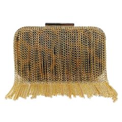 Gold Chain Fringe Animal Print Clutch