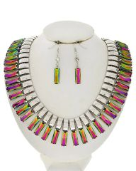 Volcano Acrylic Necklace Set, Gold