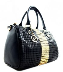 Rhinestone and Metal Mesh Studded Boston Bag